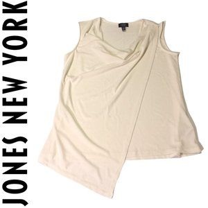 Jones NY Asymmetrical Off-White Sleeveless Blouse